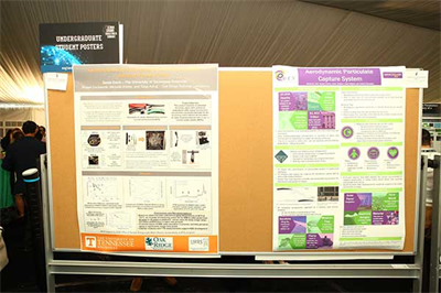 Student posters on various engineering challenges and their solutions