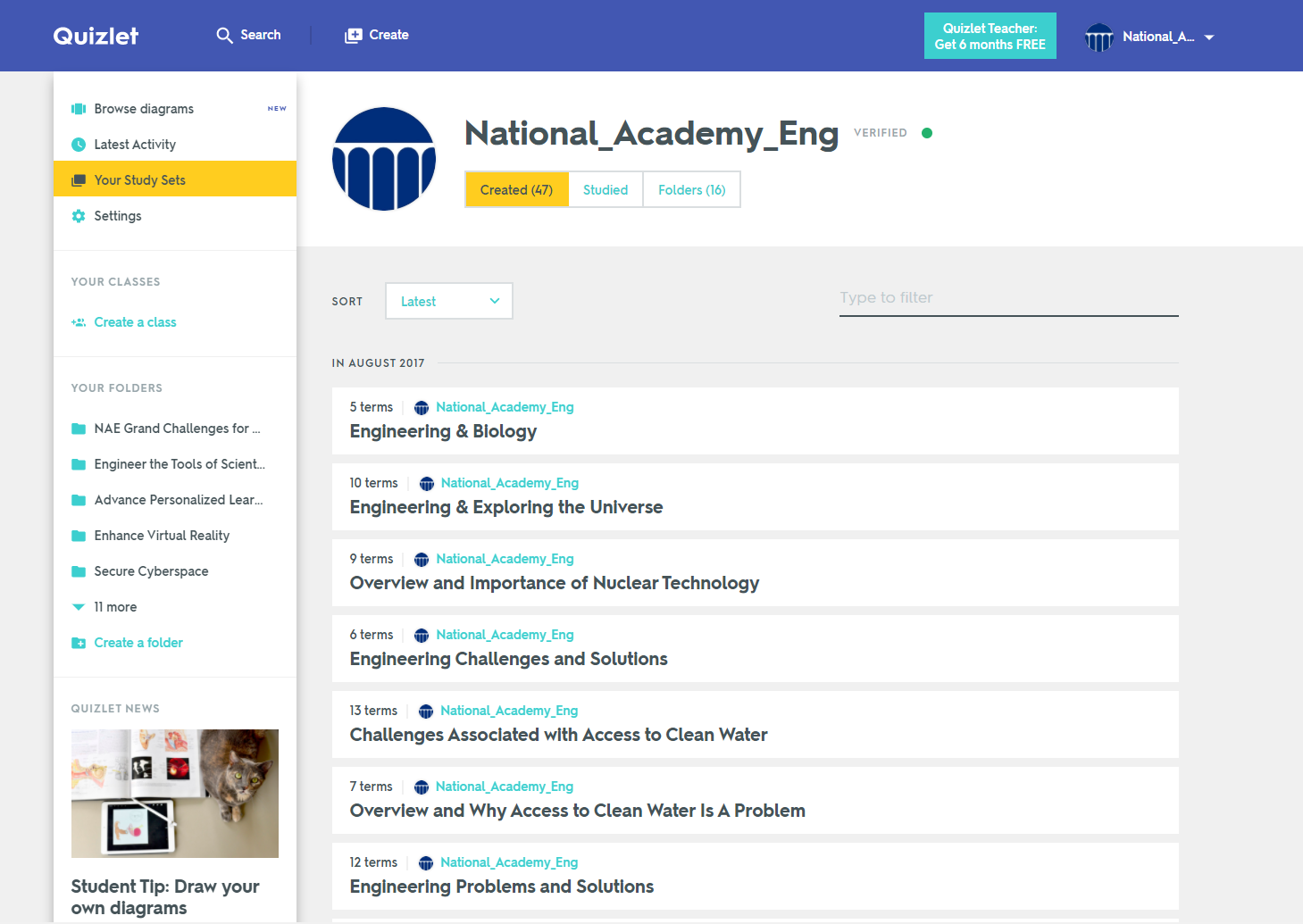 National Academy of Engineering Releases Quizlet Set Based on the 14 Grand Challenges and EngineerGirl